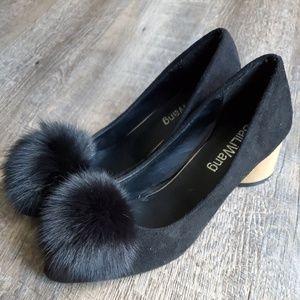 NWOT   BAILIWANG   Black Fuzzy Pompom Heels Sz 8.5
